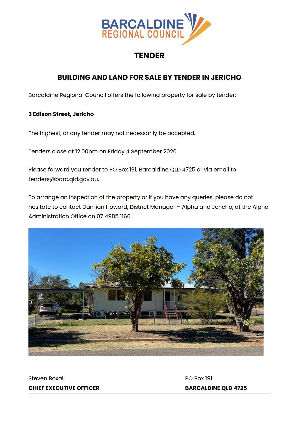 Tender notice for 3 Edison Street, Jericho