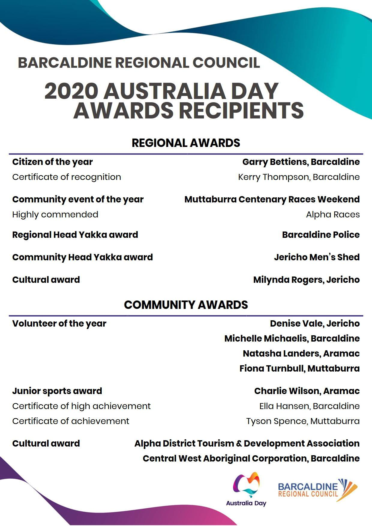 2020 Australia Day Award recipients