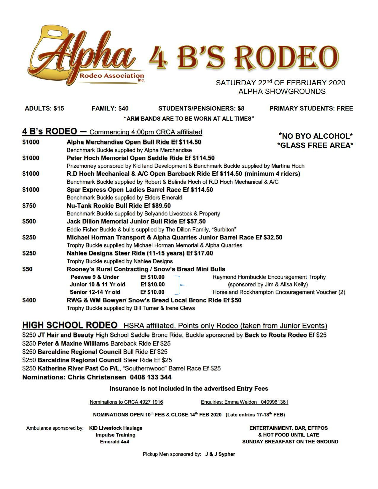 Alpha Rodeo Association - 4 B's Rodeo, Saturday 22 February 2020