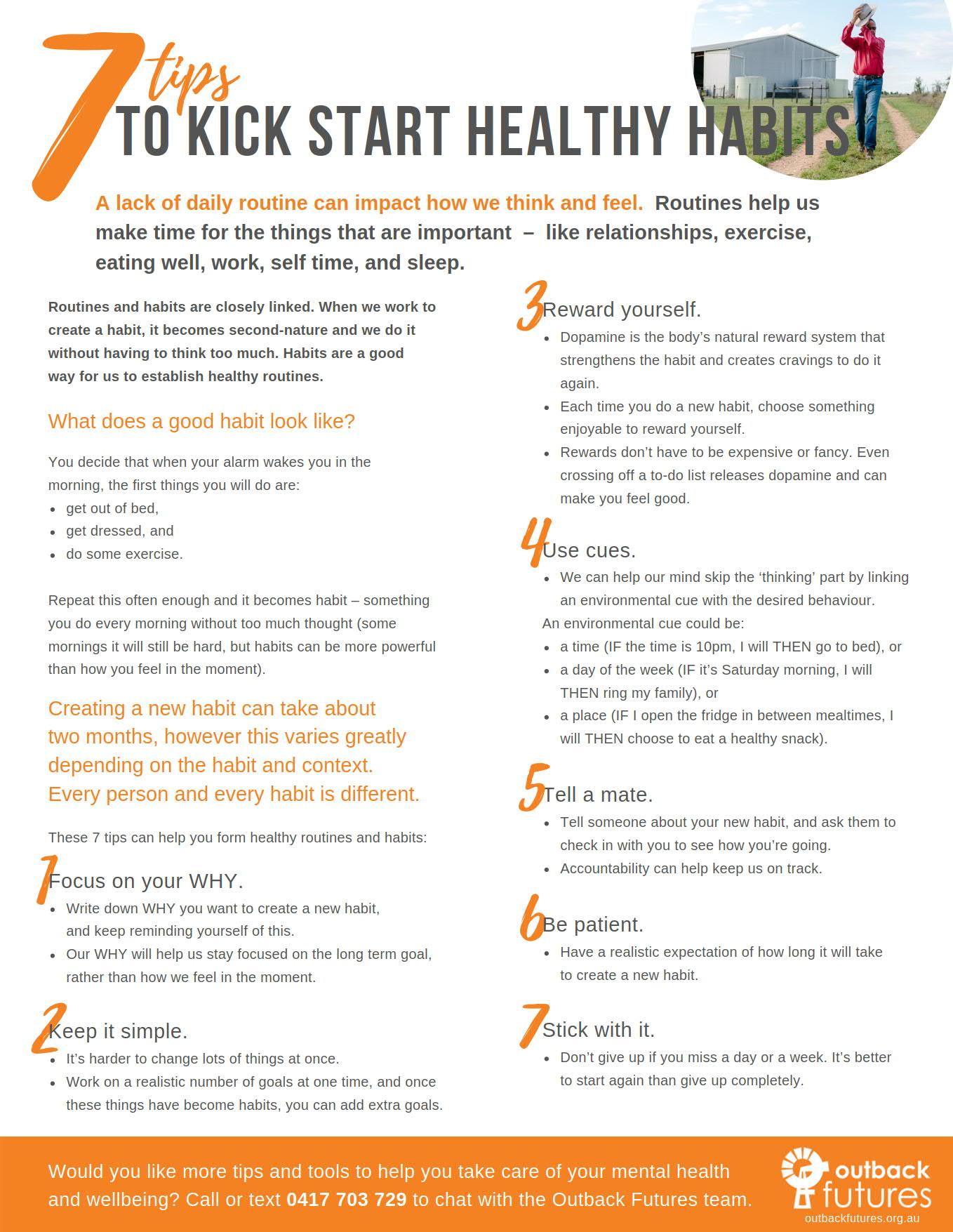 Outback Futures - 7 tips to kick start healthy habits