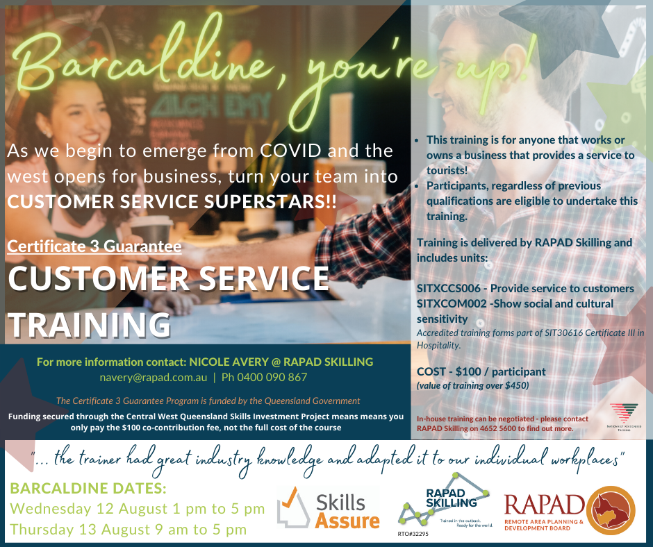 RAPAD Skilling Customer Service Training, Barcaldine, 12 and 13 August 2020