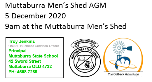 Muttaburra Men's Shed, AGM, Annual General Meeting, Saturday 5 December 2020