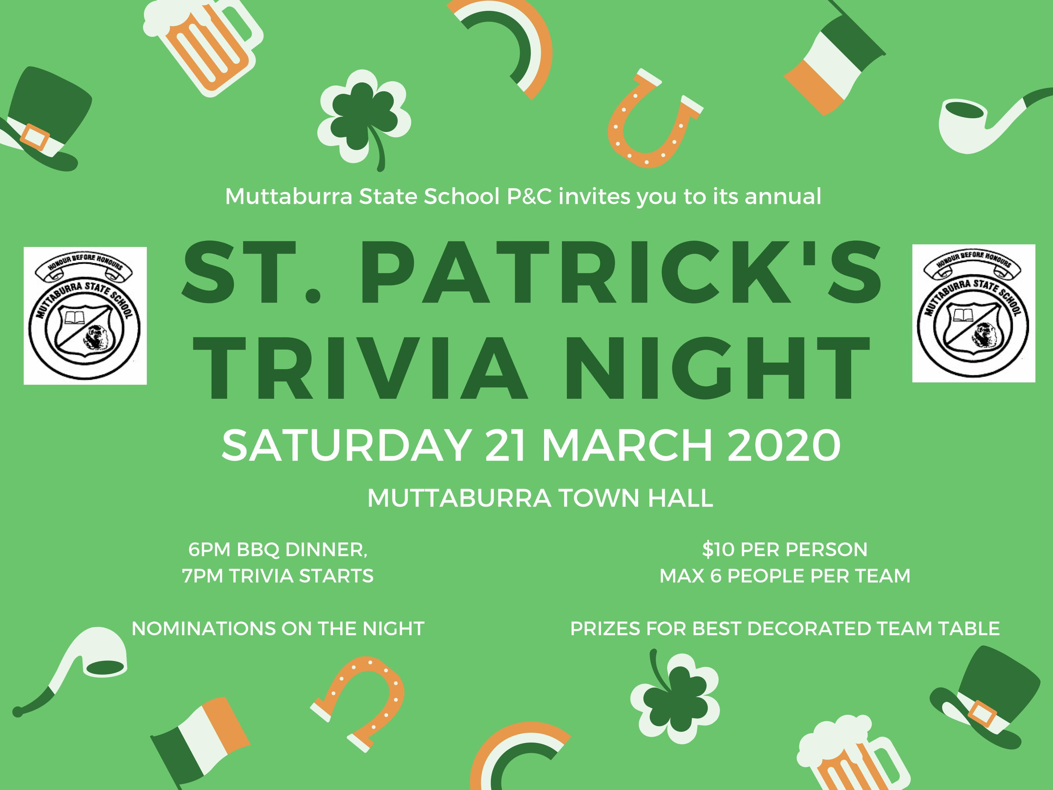 Muttaburra State School P&C - St. Patrick's Trivia Night, March 2020