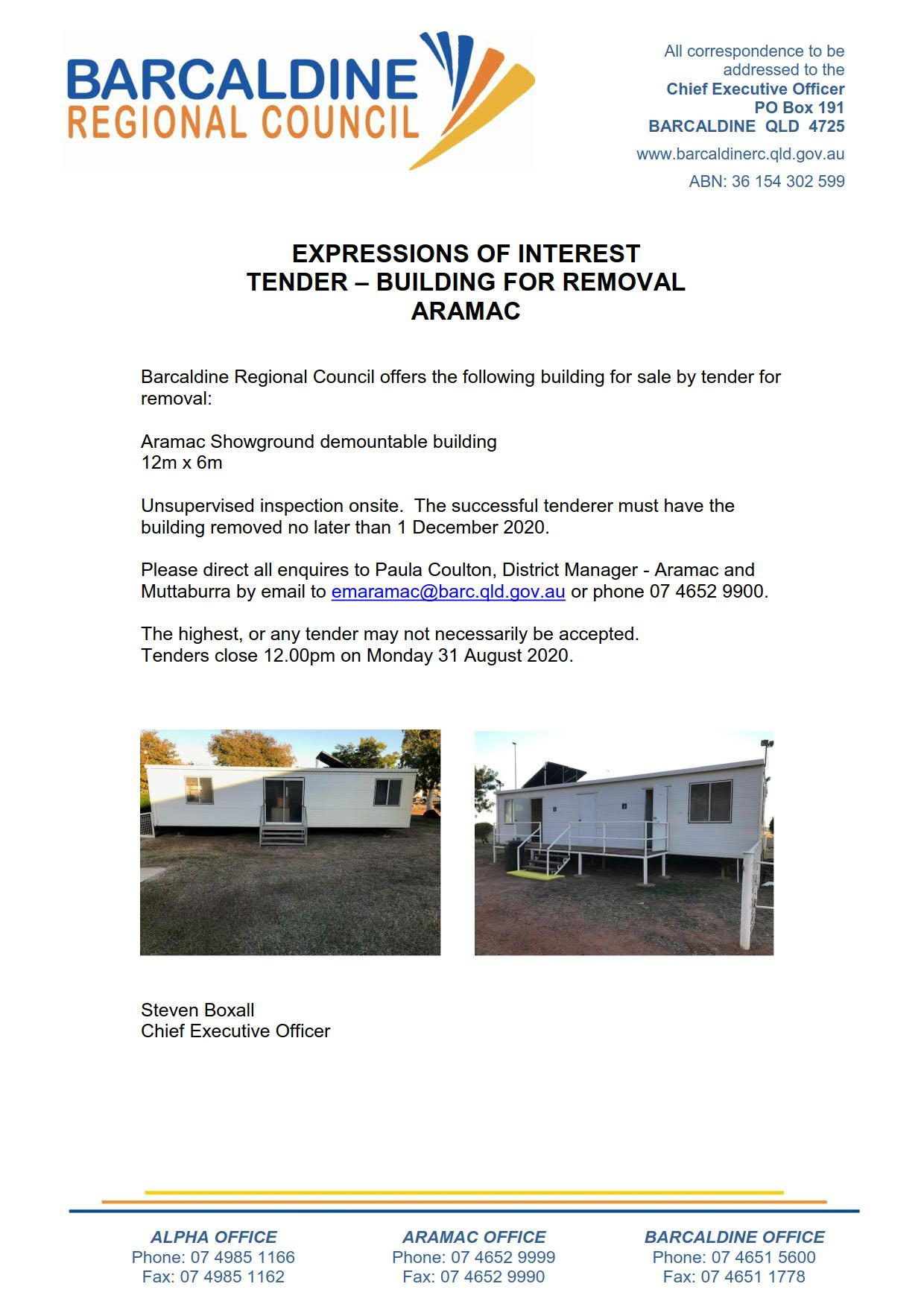 Tender for Aramac Showground building