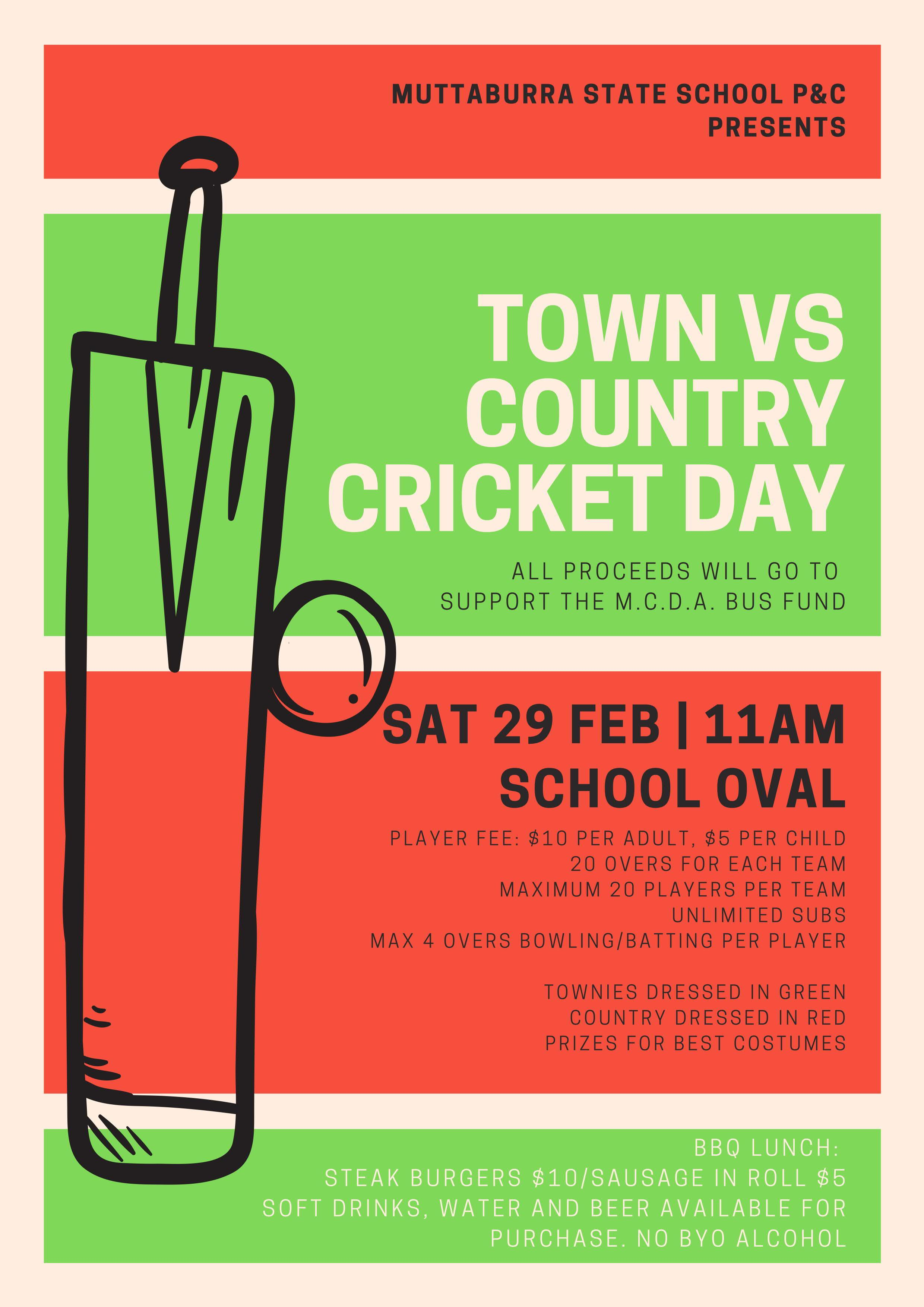 Muttaburra State School P&C - Town vs Country Cricket Day